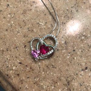Crystal hearts necklace